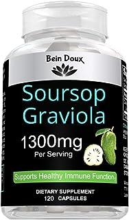 Pure Graviola (Soursop) Extract 1300mg Per Servings 120 Capsules Per Bottle | Organic Soursop (Annona Muricata) Leaves Sup...