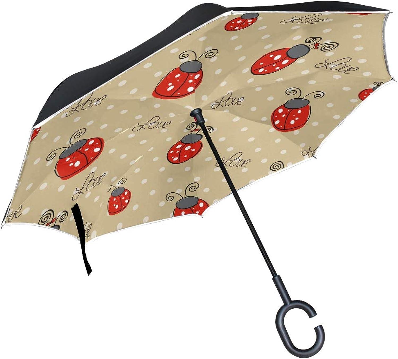 56796dd5e3af Double Layer Ingreened Ladybug Pattern Umbrellas Reverse Folding ...