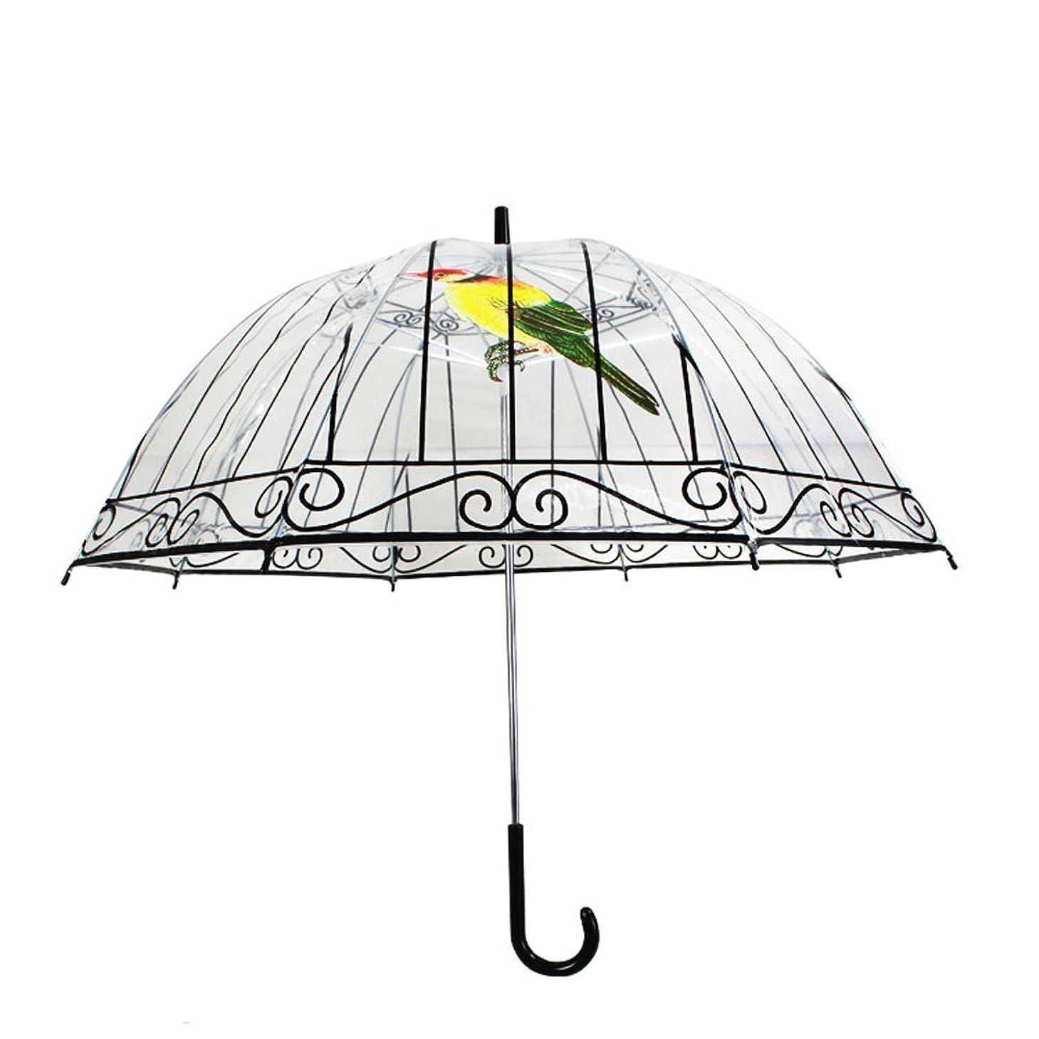 愛置き場頭痛Hush & Vane ビニール傘 鳥かご 鳥籠 ロンドン 街並み お洒落 可愛い 雨傘 長傘 (バード)
