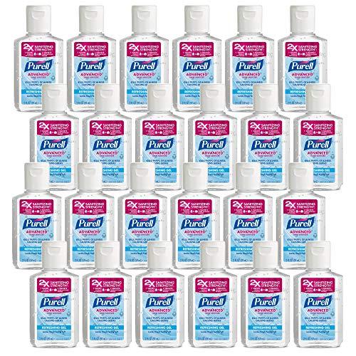 PURELL Advanced Hand Sanitizer Refreshing Gel, 2 fl oz Portable Flip Cap Bottle (Pack of 24)