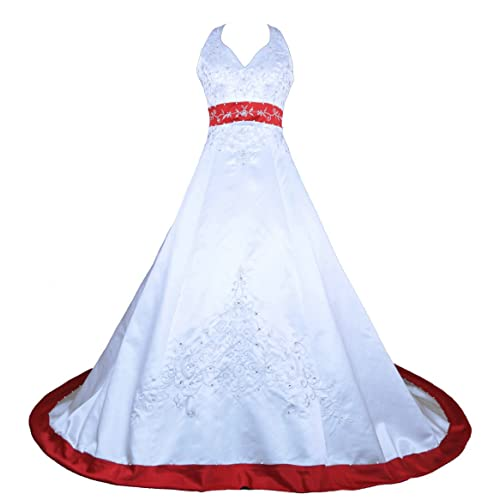 Red and White Wedding Gown: Amazon.com
