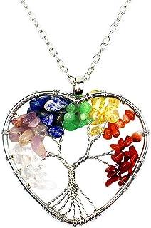 Collar de 7 chakras con piedra preciosa natural en forma de árbol de la vida, colgante hecho a mano para familiares y amigos