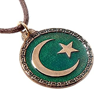 From War to Peace Crescent Moon and Star Green Enamel Pendant Necklace on Adjustable Natural Fiber Cord