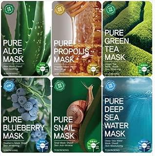 Tosowoong Pure masksheet 12PCS /Mask pack/Essence Facial Mask Sheet - Aloe/Blueberry/Green tea/Snail/Deep sea water/Propolis (6 Types X 2)