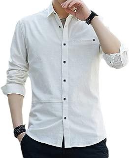 Men Slim Fit Cotton Blend Long Sleeve Solid Button Down Dress Shirt