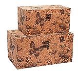 Alice's Collection Juego de 2 cajas de almacenamiento de madera con acabado de corcho, diseño de mariposas, 30 x 18 x 15 cm y 24 x 14 x 12 cm