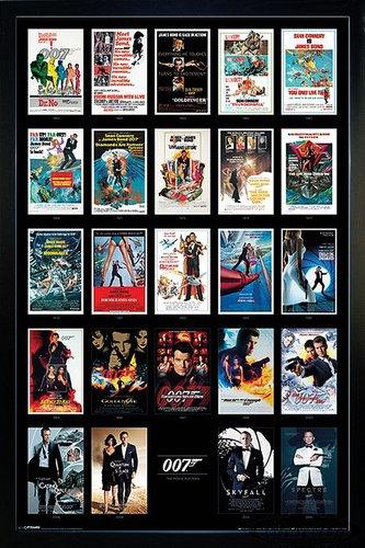 Close Up James Bond 007 Poster Filmplakate Collage (66x96,5 cm) gerahmt in: Rahmen schwarz