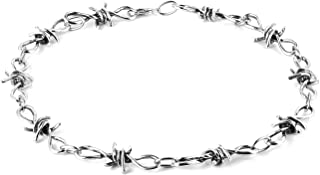 HZMAN Men's Punk Gothic Bike Alloy Barbed Wire Necklace 20 Inch