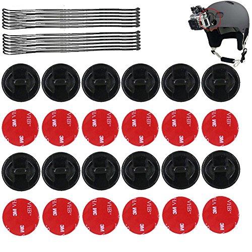 SUNMENCO 24 Stück Helm-3M-Klebe-Aufkleber & Versicherungs-Haltegurte Action Kamera Zubehör Kits für GoPro Hero 6 5 4 / Xiao mi yi/Akaso/Sony Sports dvr