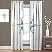 HouseLook Compass Solid Thermal Blackout Curtains Old Nautical Chart Ancient Map Historical Territories Geographical Illustration Full Light Blocking Drapes Bedroom W120 x L72 Inch Beige Navy