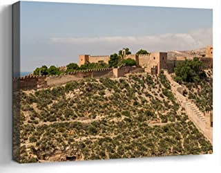Wall Art Print Canvas Framed Artwork Home Decor(20×16 in)- Alcazaba of Almeria Spain..