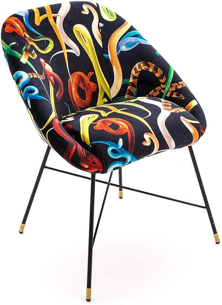 Seletti toiletpaper padded chair snakes, sedia imbottita con decoro serpenti,in legno e metallo 16043