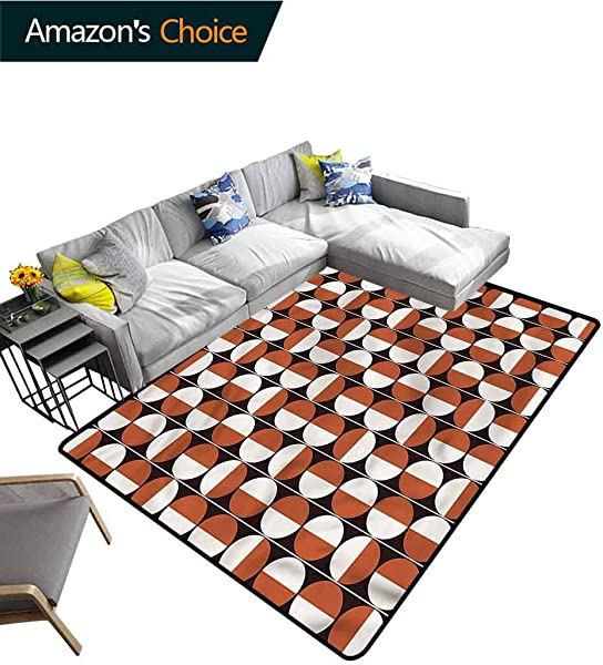 TableCoversHome Mid Century Patchwork Runner Rugs Bicolor Circles Pattern Printing Door Mat Durable Rugs Living Dinning Office Rooms Bedrrom Hallway Carpet 5 X 8