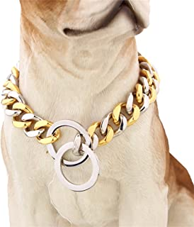 W&W Lifetime Handmade Custom 15MM Curb Cuban Chain Link 316L Stainless Steel Dog Choke Chain Collar