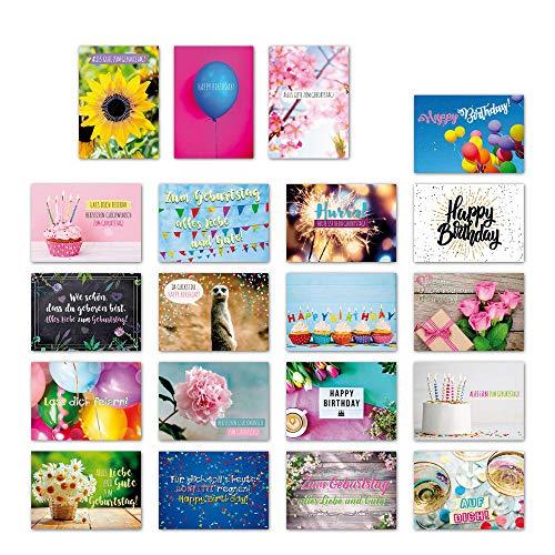 ewtshop® 20er Postkarten Set Geburtstag mit 20 Sprüchen & Zitaten // Postkarte mit Spruch