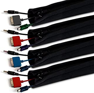 Elora Cable Manager Cable Cover Zipper Buckle Computer Cable Management Storage Set 4 Pieces Black
