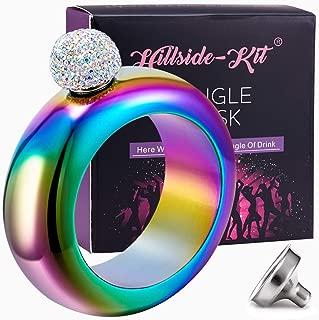 Hillside-Kit Bracelet Bangle Flask Handmade Crystal Lid Creative 304 Stainless Steel Wine Flask Gift For Women Girls Men Party Flask Hidden Liquor Flask Bracelet Funnel Set 3.5oz (Rainbown stone)