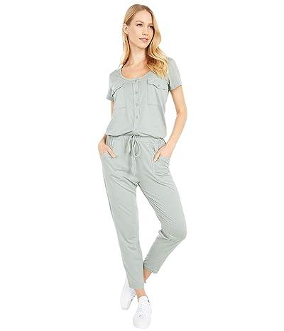 bobi Los Angeles Short Sleeve Henley Jumpsuit in Supreme Jersey (Sage) Women