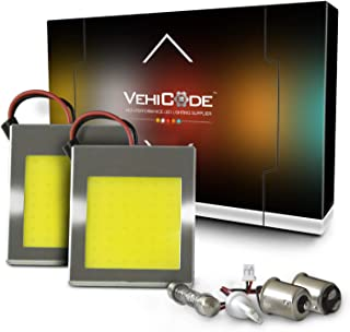 VehiCode 12V/24V White Panel LED Light Bulb Daylight 48-COB Replacement Kit w/ 1156 1142 921 30-42mm Festoon Adapter for Car Map Cargo RV Camper Marine Interior Dome Porch Trailer Cabin Light (2 Pack)