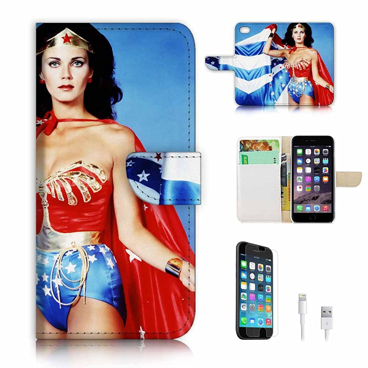 (For iPhone 8 Plus/iPhone 7 Plus) Flip Wallet Case Cover & Screen Protector & Charging Cable Bundle! A9009 Wonder Woman