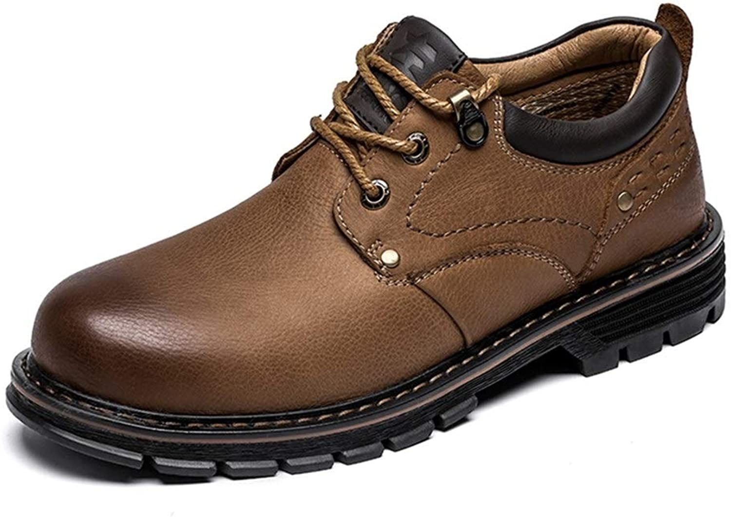MUMUWU Fashion Oxfords for Men Lace Up Style Cowhide Leather Casual Round Toe Leisure Work shoes (color   Brown, Size   9.5 M US)