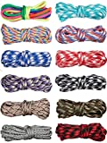 Paracord-Seil, 550 Stück, 3 m, bunte Paracord-Seile, Multifunktions-Paracord-Armbänder, Bastel-Seil für Lanyards, Schlüsselanhänger, Hundehalsband, gewebt, manuelles Flechten, DIY-Zubehör, 12 Farben