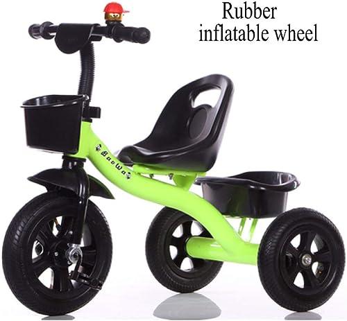 GIFT Kinderfahrrad Kinder Kinder Dreirad Trike Sitz Kann Eingestellt Werden, Eva Weißhes Rad Gummirad, 2-6 Jahre,J