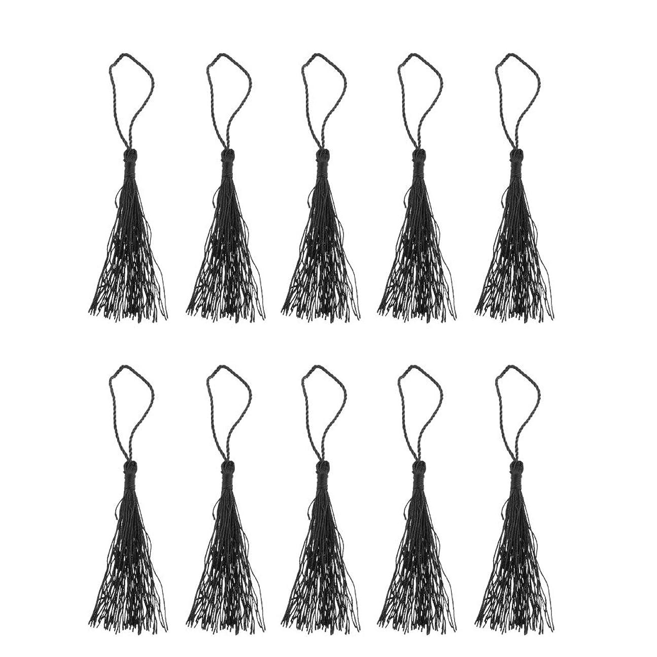 食い違い夜明けにチーフカーテンタッセル 装飾タッセル バッグ ジュエリー 扇子 掛け飾り 約13 cm 全6色 - ブラック