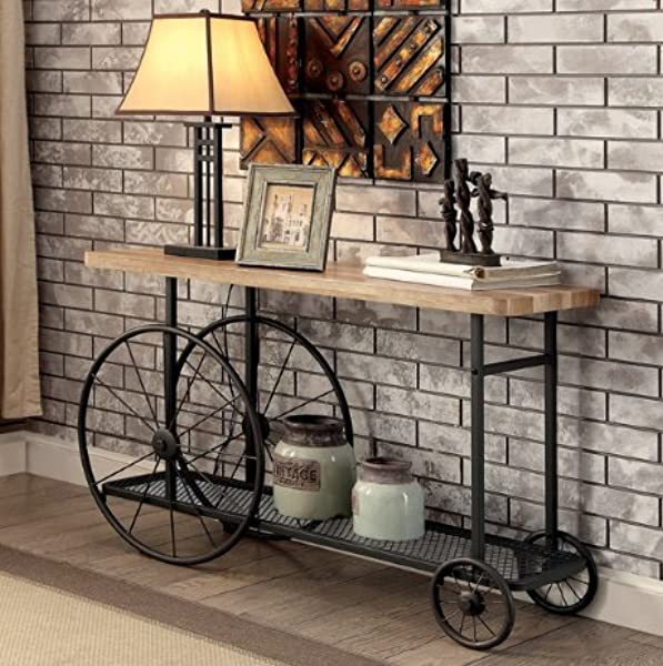 ModHaus Living Modern Industrial Natural Tone Wood Veneer Top Black Wheeled Console Sofa Table With Wire Mesh Shelf Includes Pen