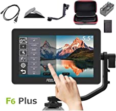 Feelworld F6 Plus +Battery + Charger +Carrying Case 5.5 Inch 3D LUT Touch Screen Field Monitor IPS FHD 1920x1080 Support 4K with Tilt Arm for DSLR Mirrorless Camera