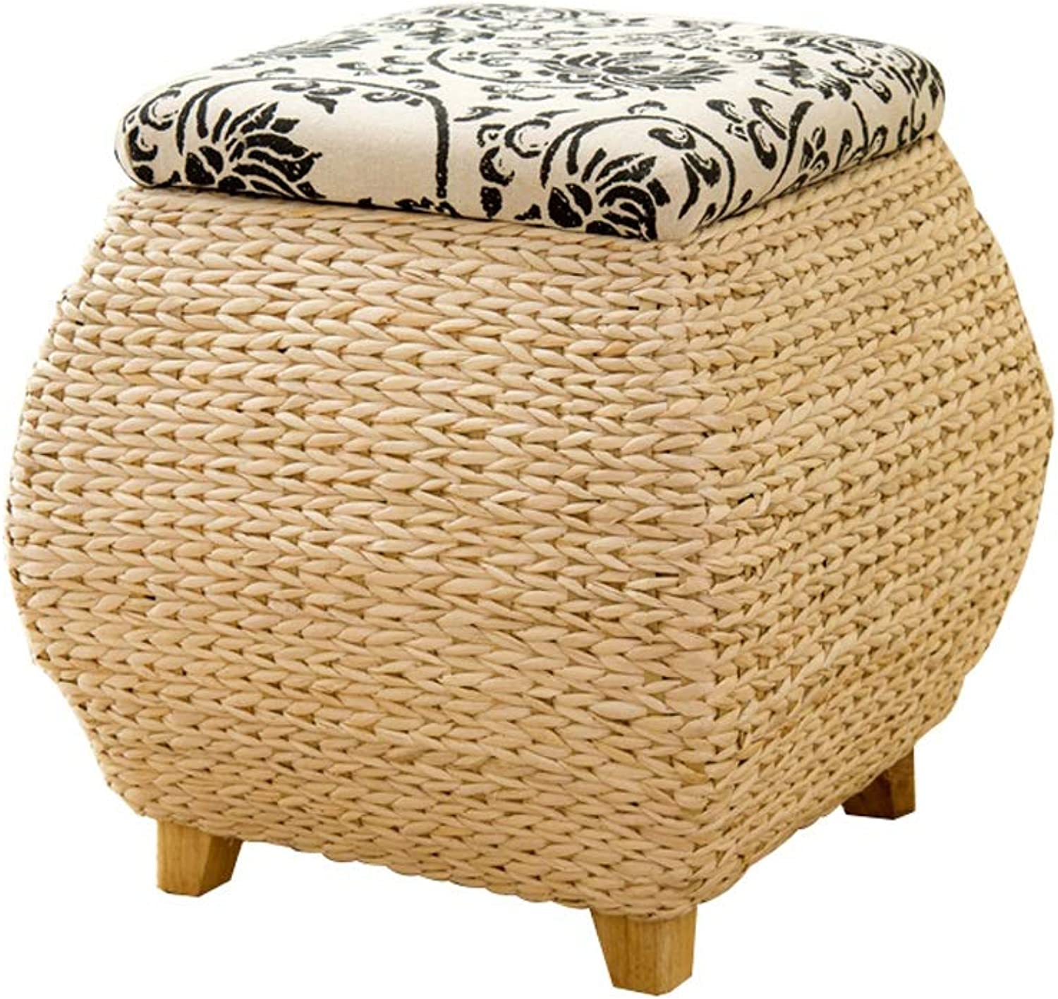 LIUXUEPING Stool, Rattan Stool Change shoes Bench Straw Storage Stool Storage Stool Stool Sofa Stool Bed End Stool
