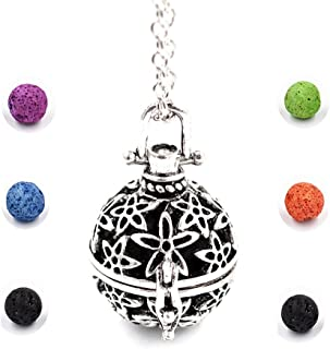 Lava Stone Aromatherapy Jewelry Necklace Locket Pendant Essential Oil Diffuser 6 Colorful Ball