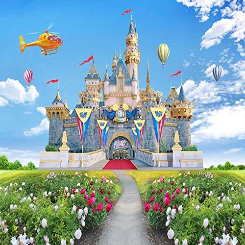 Sijoo Habitación Infantil 3D Castillo estéreo Telón de Fondo Mural de la Pared Cielo Azul y Nubes Blancas Hierba Verde Paisaje Papel Tapiz Decoración para el hogar