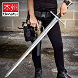 Honshu Broadsword with Scabbard - 1060 High Carbon Steel Blade, TPR Handle, Stainless Steel Pommel - Length 43 1/2'