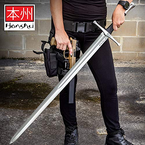 Honshu Broadsword with Scabbard - 1060 High Carbon Steel Blade, TPR Handle, Stainless Steel Pommel - Length 43 1/2