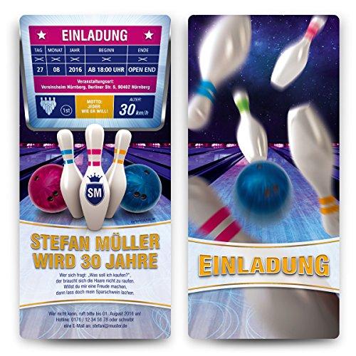 Einladungskarten zum Geburtstag (20 Stück) im Bowling Motiv Einladung Kegeln