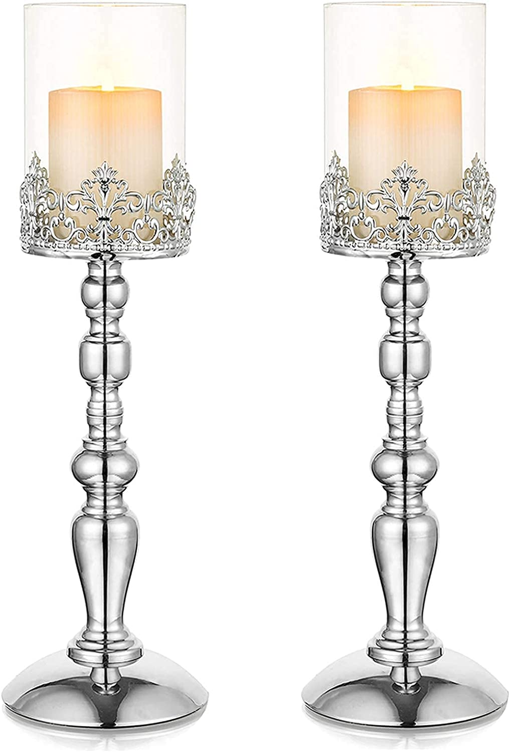 Candlestick Holders Set of 2 Philadelphia Mall Glass Pillar Candle with sold out G
