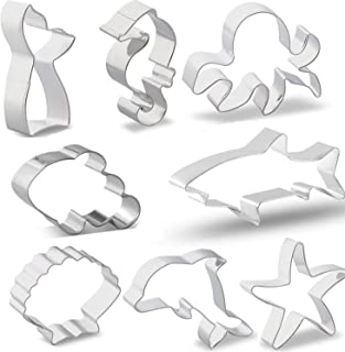Ocean Cookie Cutter Set, Ouioui 8 Pieces Stainless Steel Sea Fondant Mold - Clown Fish, Mermaid, Shark, Dolphin, Octopus, Seahorse, Starfish and Seashell, Great for kids and Party