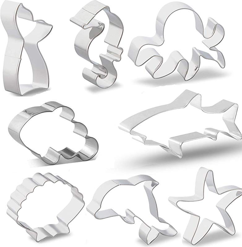 Ocean Cookie Cutter Set Ouioui 8 Pieces Stainless Steel Sea Fondant Mold Clown Fish Mermaid Shark Dolphin Octopus Seahorse Starfish And Seashell Great For Kids And Party