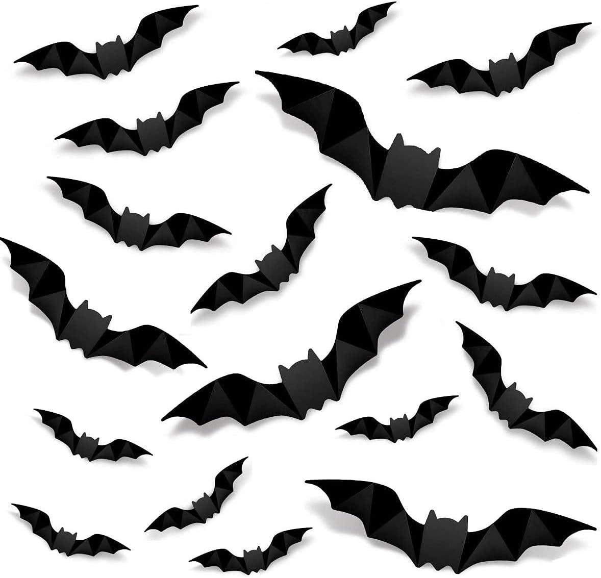 Halloween Decorations 3D Bat Decorations,80PCS DIY Scary Window Bats Window Decal Window Stickers ,Halloween Party Decoration Supplies