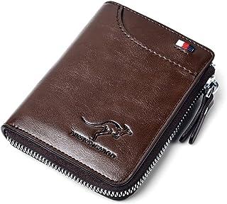 Mens Wallet, RFID Blocking Slim Flip Wallets, Credit Card Holder, Leather Zipped Wallets for Men,Holds up to 14 Cards, 1 B...