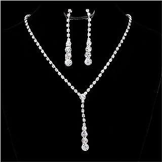52b165f2ae7 Tpocean Strass Ensemble de collier et boucles d oreilles pour mariée fête  de mariage Ensemble
