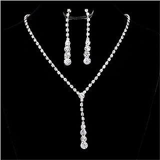 Tpocean Schmuck-Set mit Halskette und Ohrringen für Brautschmuck Hochzeit Party Strass