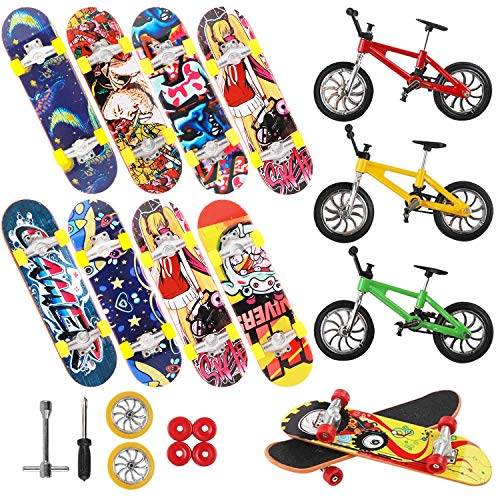 VANKERTER 19pcs Mini Finger Skateboards and Bikes Finger Toys Fingerboards with Replacement Wheels and Tools for Kids as Gifts