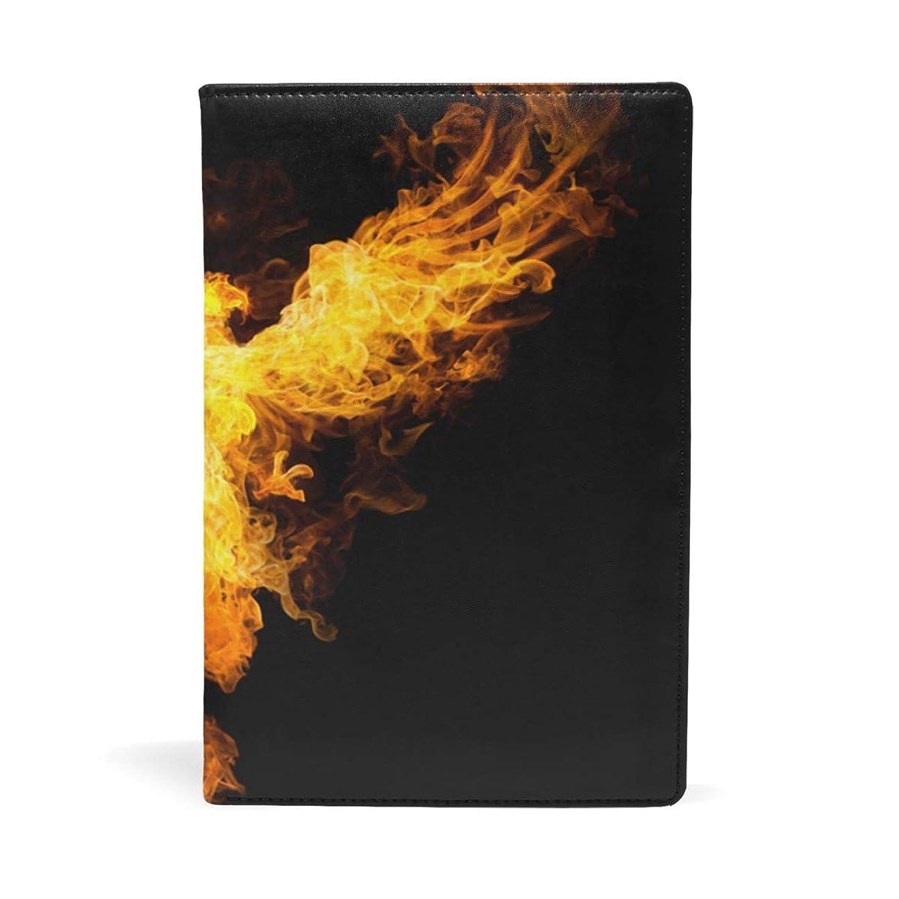 デコレーションラフじゃない暗闇の中で炎のワシ ブックカバー 文庫 a5 皮革 おしゃれ 文庫本カバー 資料 収納入れ オフィス用品 読書 雑貨 プレゼント耐久性に優れ