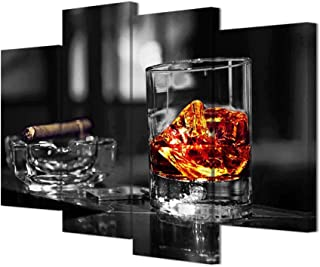 HOMEOART Canvas Prints Whisky and Cigar Picture Bar Decor Black and White Cool Artwork Man Gift Kitchen Decoration 4 Panels Stretched Framed Art Ready to Hang