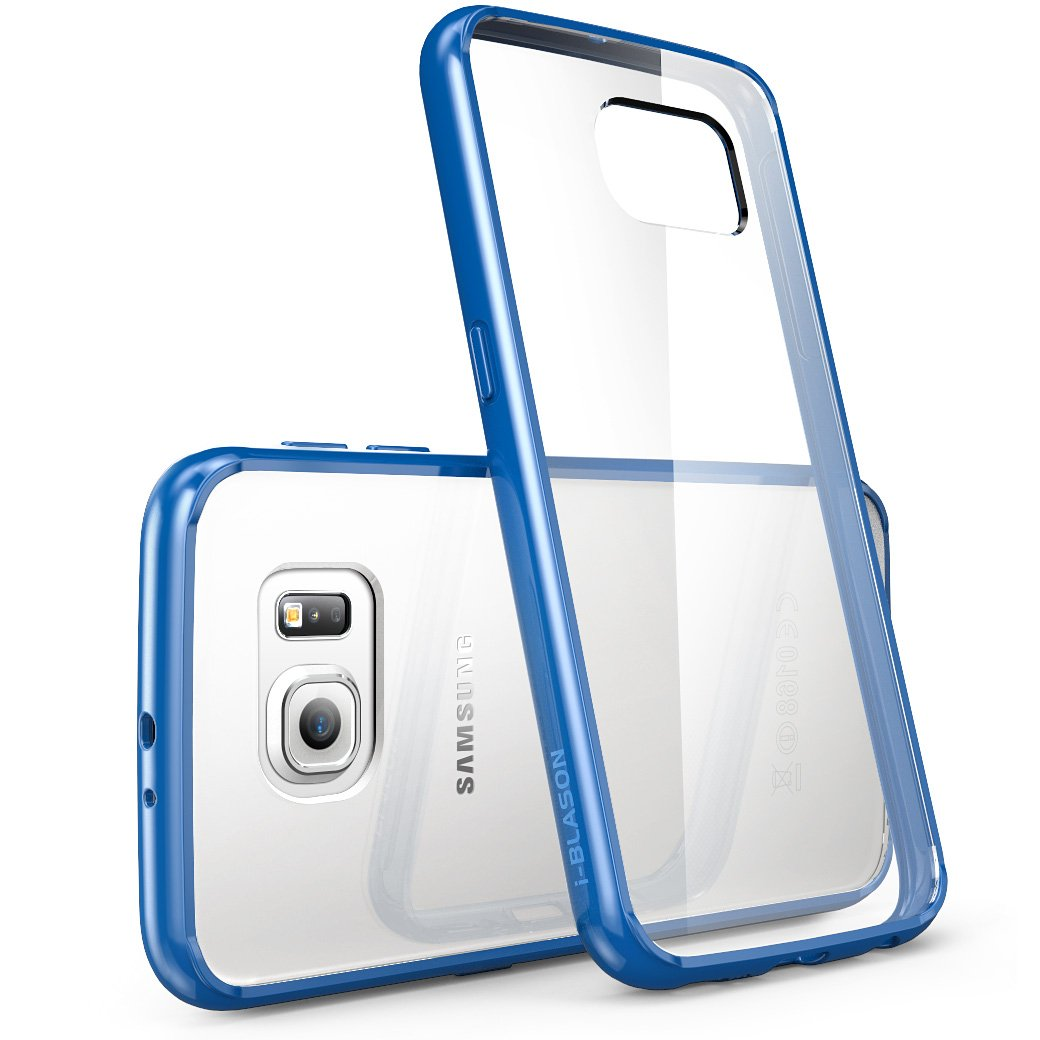 Galaxy S6 Case, [Scratch Resistant] i-BlasonClear [Halo Series] Samsung Galaxy S6 Hybrid Bumper Case Cover (Clear/Blue)