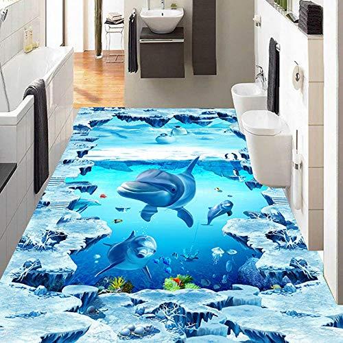 Papel pintado mural personalizado 3D estéreo delfines azulejos pintura baño pegatinas de suelo de vinilo impermeable-300 * 210 cm