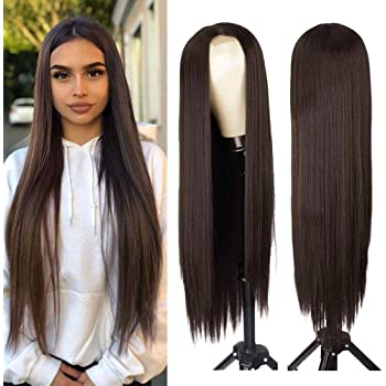 AISI HAIR Dark Brown Natural Long Straight Hair Wig For Women Straight Middle Part Synthetic Hair Wig Heat Resistant Full Wig for Daily Use (6/8)