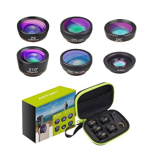 Apexel 6 en 1 Kit de Lentes de telefono de cámara Lente Gran Angular, Lente